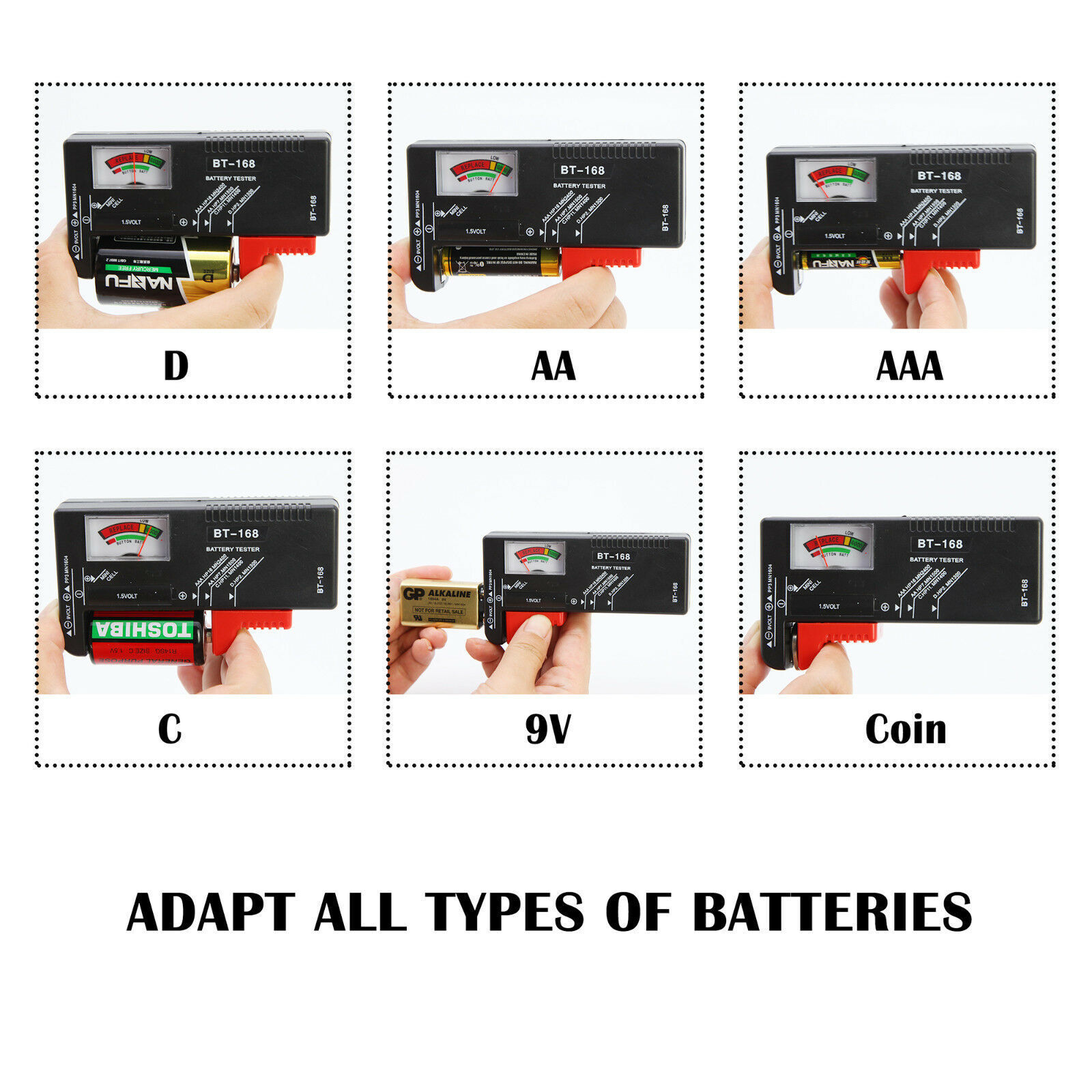 AA AAA C D 9V Universal Battery Volt Checker Tester Button Cell Batteries 2-Pack Battery Testers