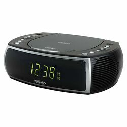Jensen Modern Home CD Tabletop Stereo Clock Digital AM/FM Radio CD Player Dua...