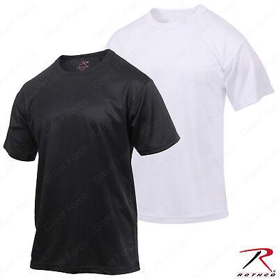 Men's Moisture Wicking T-Shirt Black or White - Rothco Quick Dry Polyester -