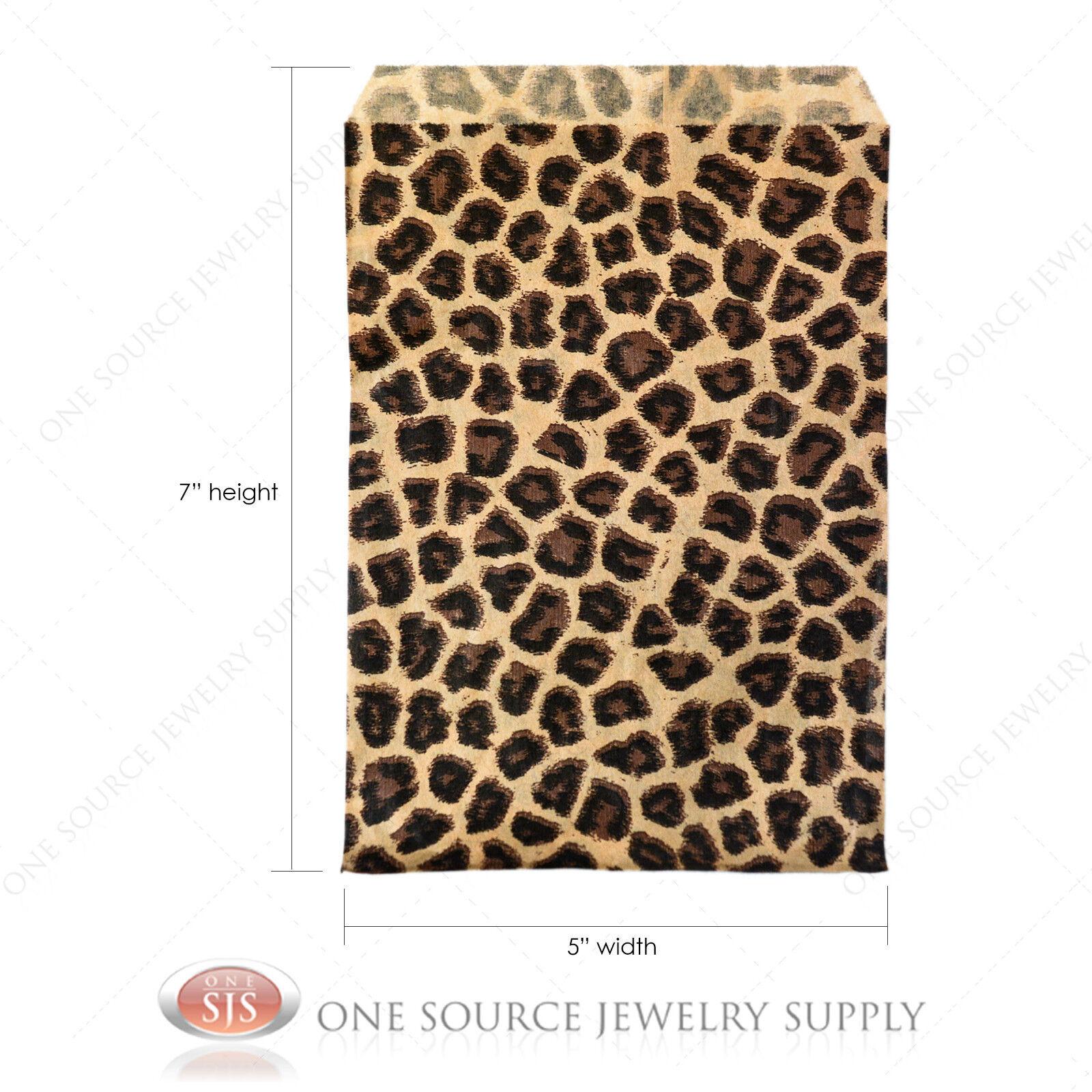 1000 Kraft  Leopard Print Design Jewelry Paper Shopping Gift Bag 6x9