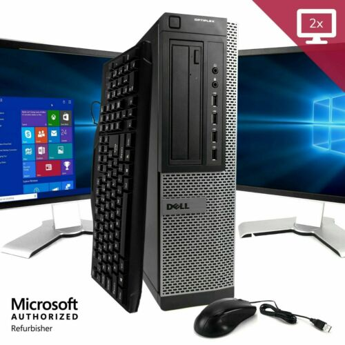 "Dell Desktop Computer 16GB 2TB 512GB SSD Wifi Core i5 Windows 10 PC 24"" 22"" LCD"