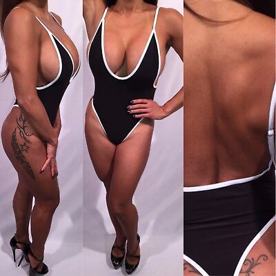 Connie's Black with White Piping One Piece Thong Bikini  XL