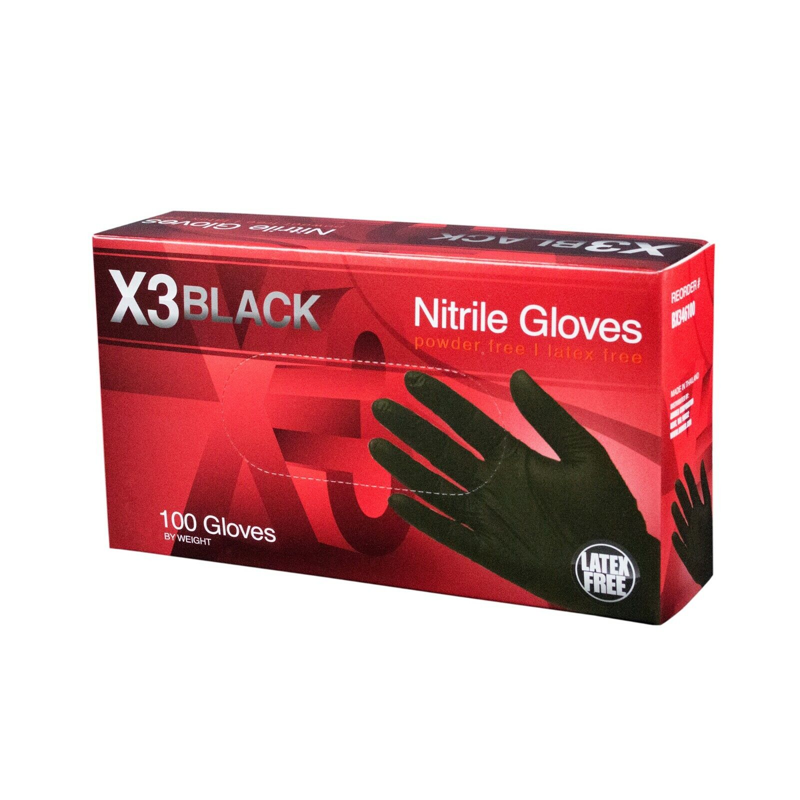 AMMEX BX3 Black Nitrile Industrial Latex Free Disposable Gloves (Box of 100) 100