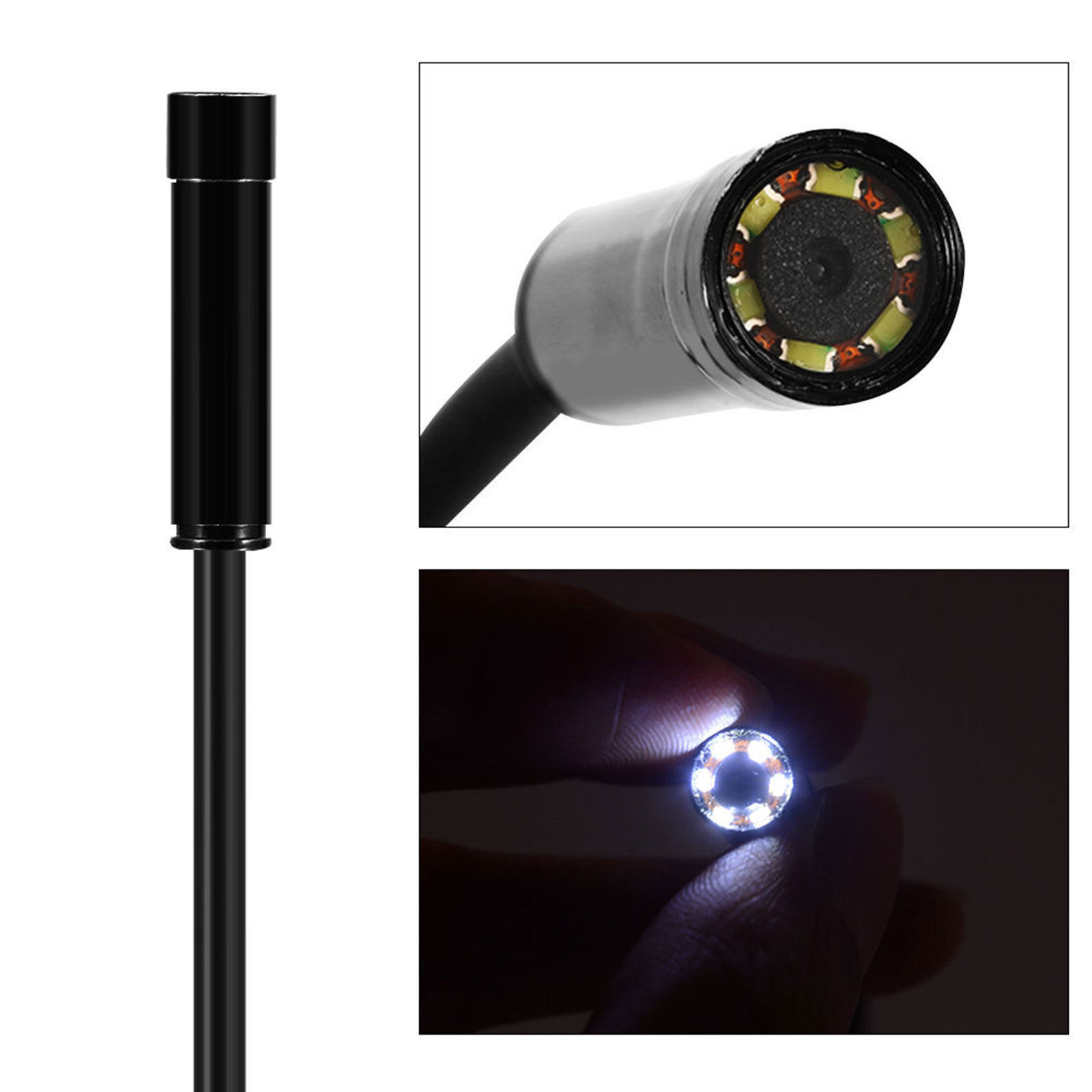 Endoscope Camera 5.5MM 6 LED Android Borescope Waterproof Inspection Video 1M US