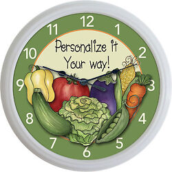 Vegetables Vegetable Veggies Wall Clock Vegan Fruit Tomato Custom Personalized