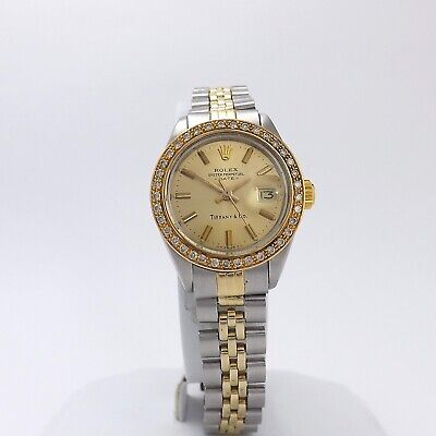 Rolex Tiffany & Co Date Oyster Perpetual Diamond Bezel Two Tone Champagne Watch