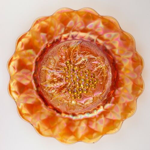 Imperial Heavy Grape Carnival Glass Large Chop Plate, Marigold