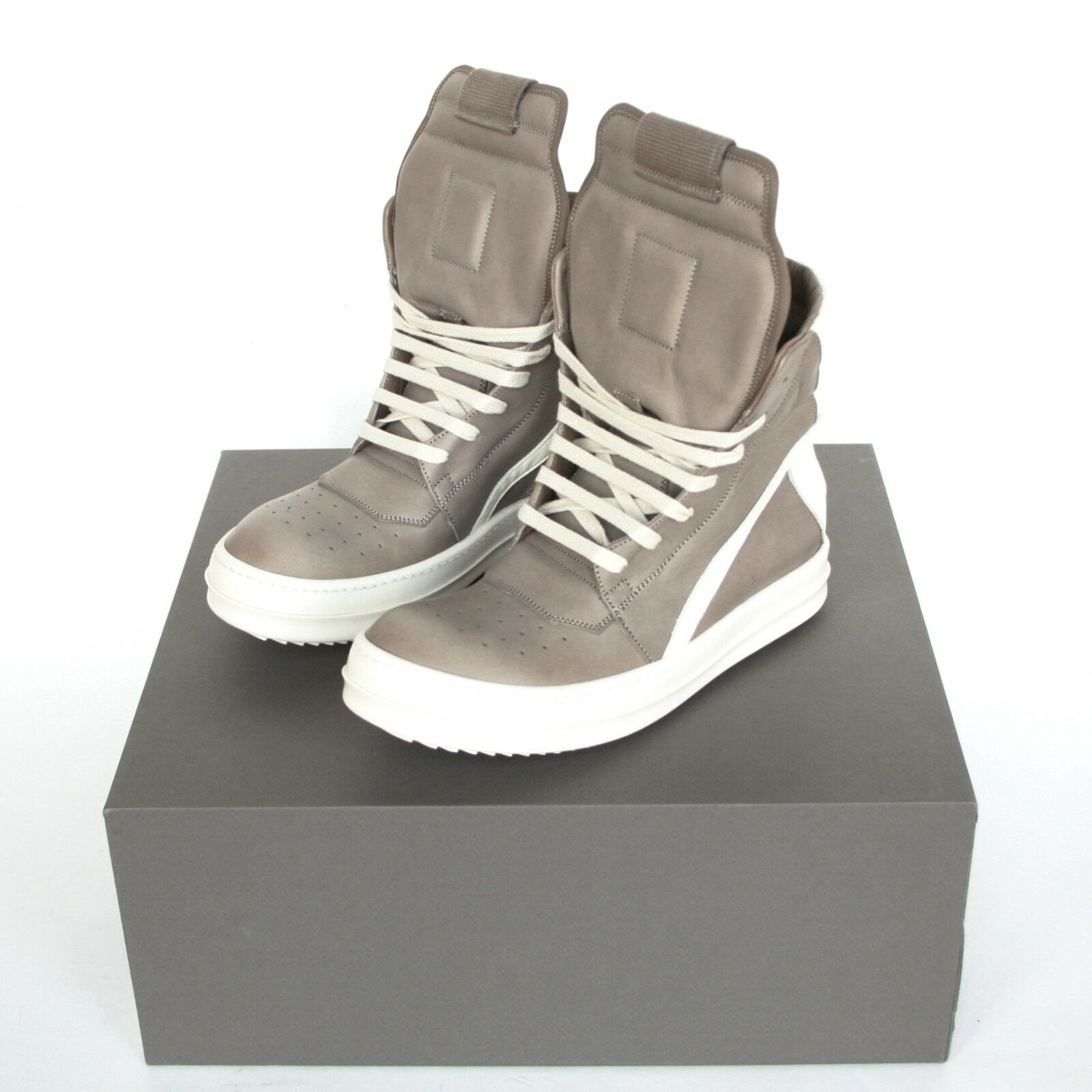 62168d118919 RICK OWENS beige milk white leather shoes Geobasket hi-top dunks sneakers  39 NEW Item Number  401350437704