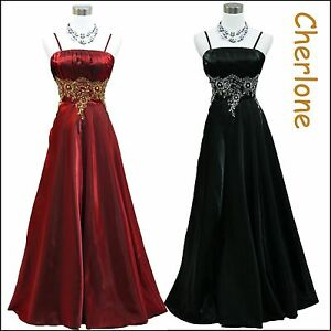 Cherlone-Satin-Sparkle-Long-Ball-Bridesmaid-Formal-Wedding-Evening-Gown-Dress
