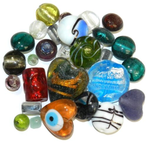 GX4488 Assorted Color, Size & Shape 5mm - 29mm Lampworked Glass Bead Mix 16oz