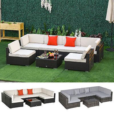 Garden Furniture - Garden 7 PCs Rattan Furniture Set Patio Sectional Sofa Cushion Seat Wicker