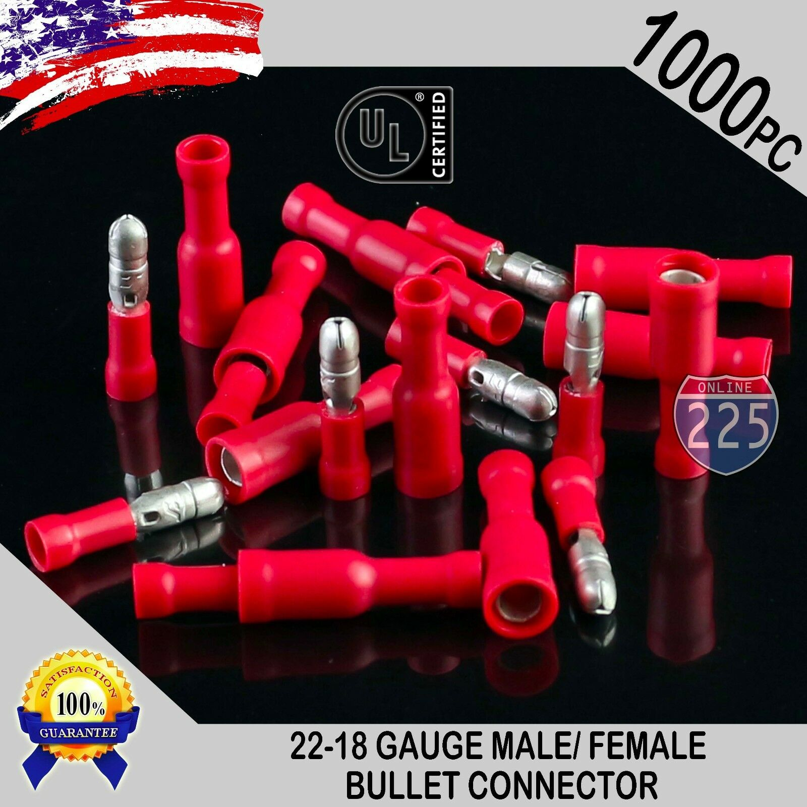 1000 Pack 22-18 Awg Red Male & Female Bullet Connectors I...