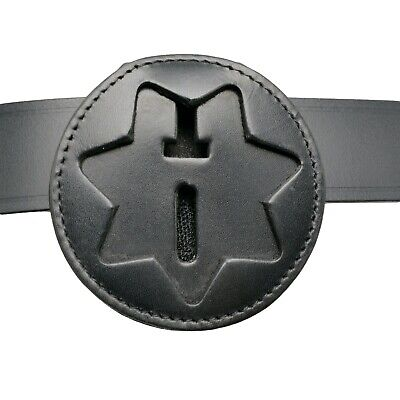 "Recessed Belt Clip Badge Holder 7-pt star shape 2.75/"" w with pocket and chain"