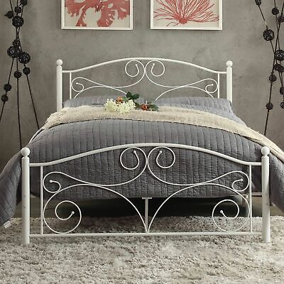 Wrought Iron Bed - Wrought Iron Bed Frame Full Size Panel Headboard Foot Board Bedroom White S