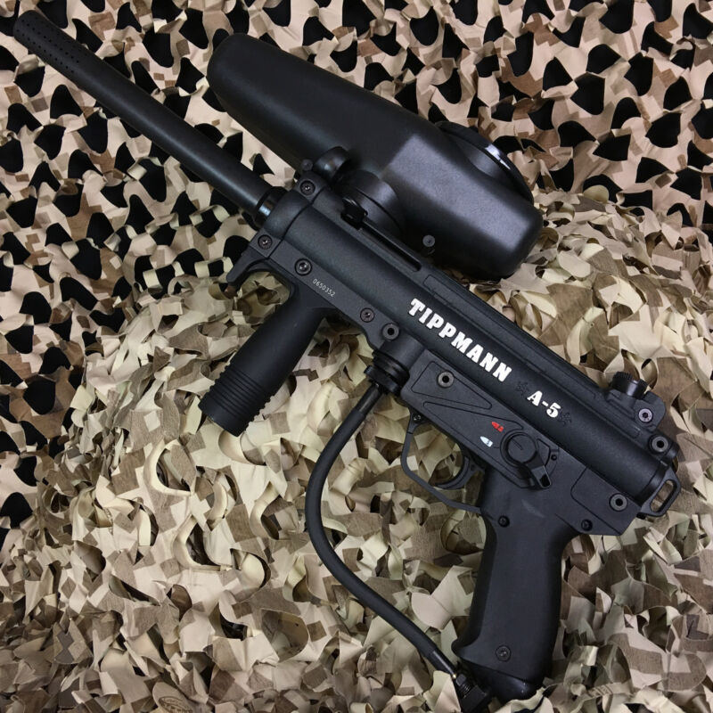 NEW Tippmann A5 Semi Auto Paintball Gun Marker w/ Cyclone Feed - Black (T101041)