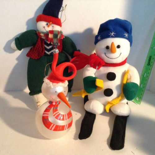 (3) Snowman Collection Winter Snow Men Soft fabric skier 1 glass ornament CUTE