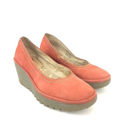 Fly London Womens Size 39 Red Suede Wedge Shoes Style P500171040 Red Suede Wedge