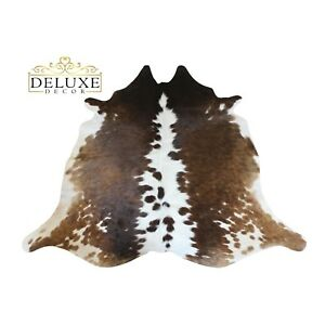 Small Tricolor Cowhide Rug Hair on Cow Hide Natural Animal Skin Area Rug 4'x4'