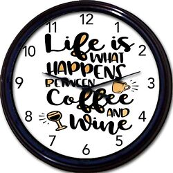 Coffee Wine Cup Mug Wall Clock Life Between Coffee And Wine Caffeine New 10