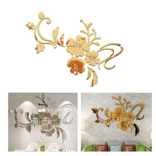 Home Decoration - 3D Mirror Acryl Wall Sticker Flower Decal Home Room Art Mural Decor Removable UK