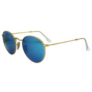 bb6fee1641 Ray-Ban Round RB 3447 112 4L 50mm Matte Gold Frame   Blue Mirror Polarized  Lenses