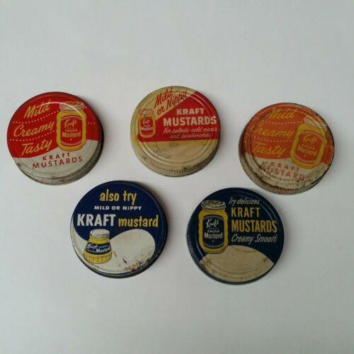 Lot of 5 Vintage Metal Kraft Salad Mustard Jar Screw On Lids