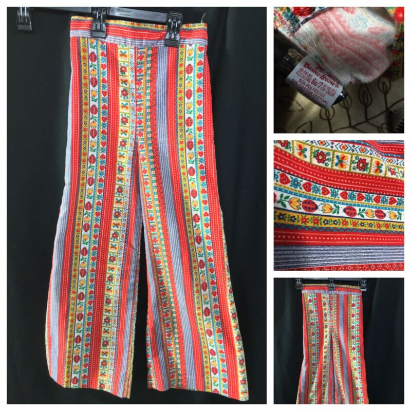 HTF Vtg 1970s Buster Brown Kids Sz 6 Bell Bottoms Pants Flower Ladybug  Red