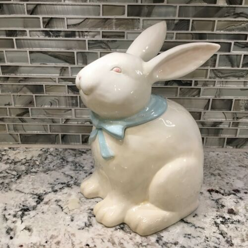 "Vintage Home ""Sunday Brunch"" China Hand-Painted Bunny Cookie Jar Easter Rabbit"