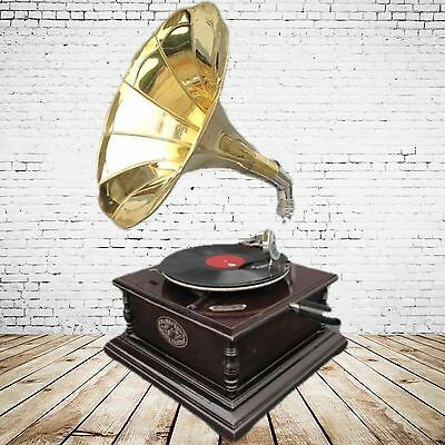 Grammophon Party Gag eckig Mahagoni Nostalgie Geschenk in vintage Dekoration