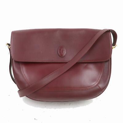 Authentic Cartier Shoulder Bag  Bordeaux Leather 1113187