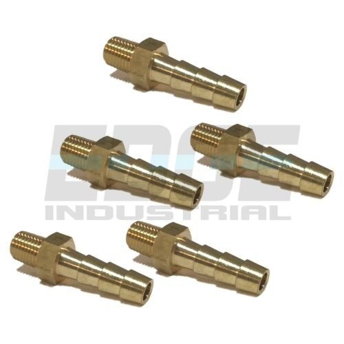(5 Pack) 1/4 HOSE BARB X 1/16 MALE NPT Brass Pipe Fitting NPT Gas Fuel Water Air