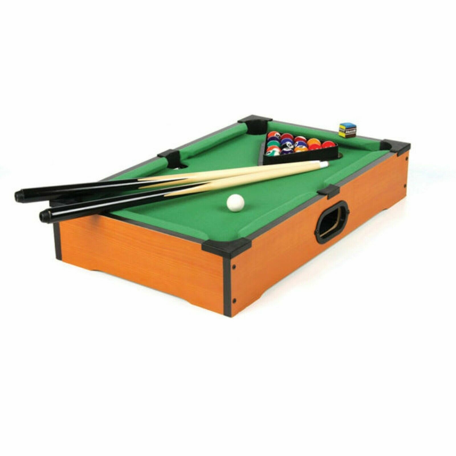 WOODEN TABLE TOP MINI DELUXE KIDS FAMILY  POOL PLAY SET CUES BALLS SNOOKER GAME