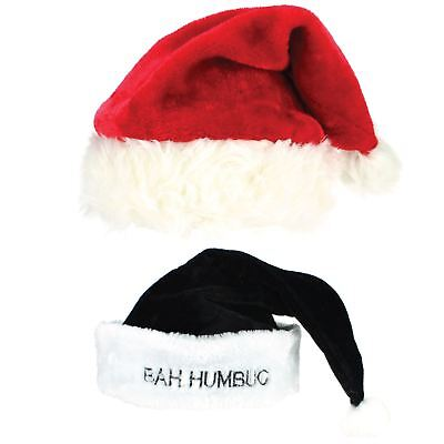 istmas Xmas Cap Super Soft Red Black BAH HUMBUG (Bah Humbug Hat)