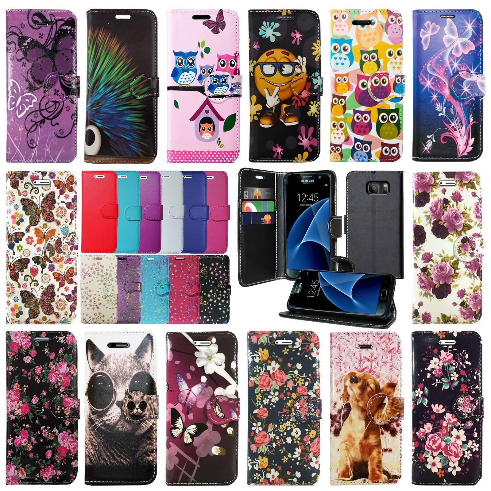 LEATHER WALLET BOOK FLIP PROTECT PHONE CASE FOR SAMSUNG GALAXY S8 S9 & S9 PLUS