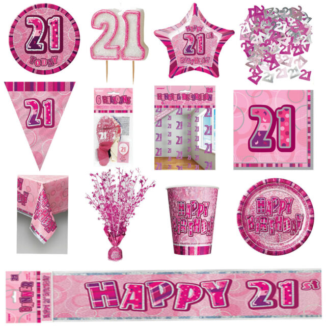 Glitz Pink 21st Birthday Party Tableware Decoration Plates Banners Candle Age 21
