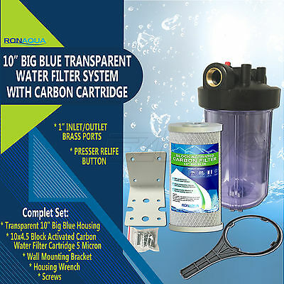 """10"""" Big Blue Transparent Whole House System with 4.5x10"""" Block Carbon Filter"""