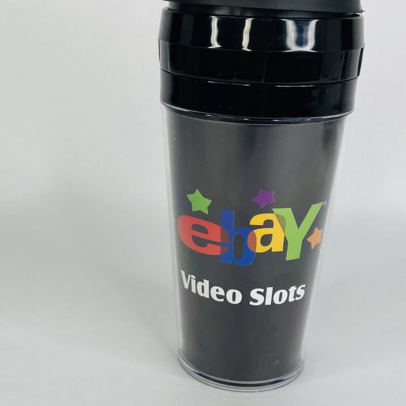 Vtg Ebay Video Slots Black Travel Cup Coffee Mug Logo Las Vegas eBay Nostalgia