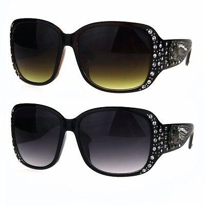 Womens Rectangular Luxury Bling Rhinestone Diva Butterfly Sunglasses