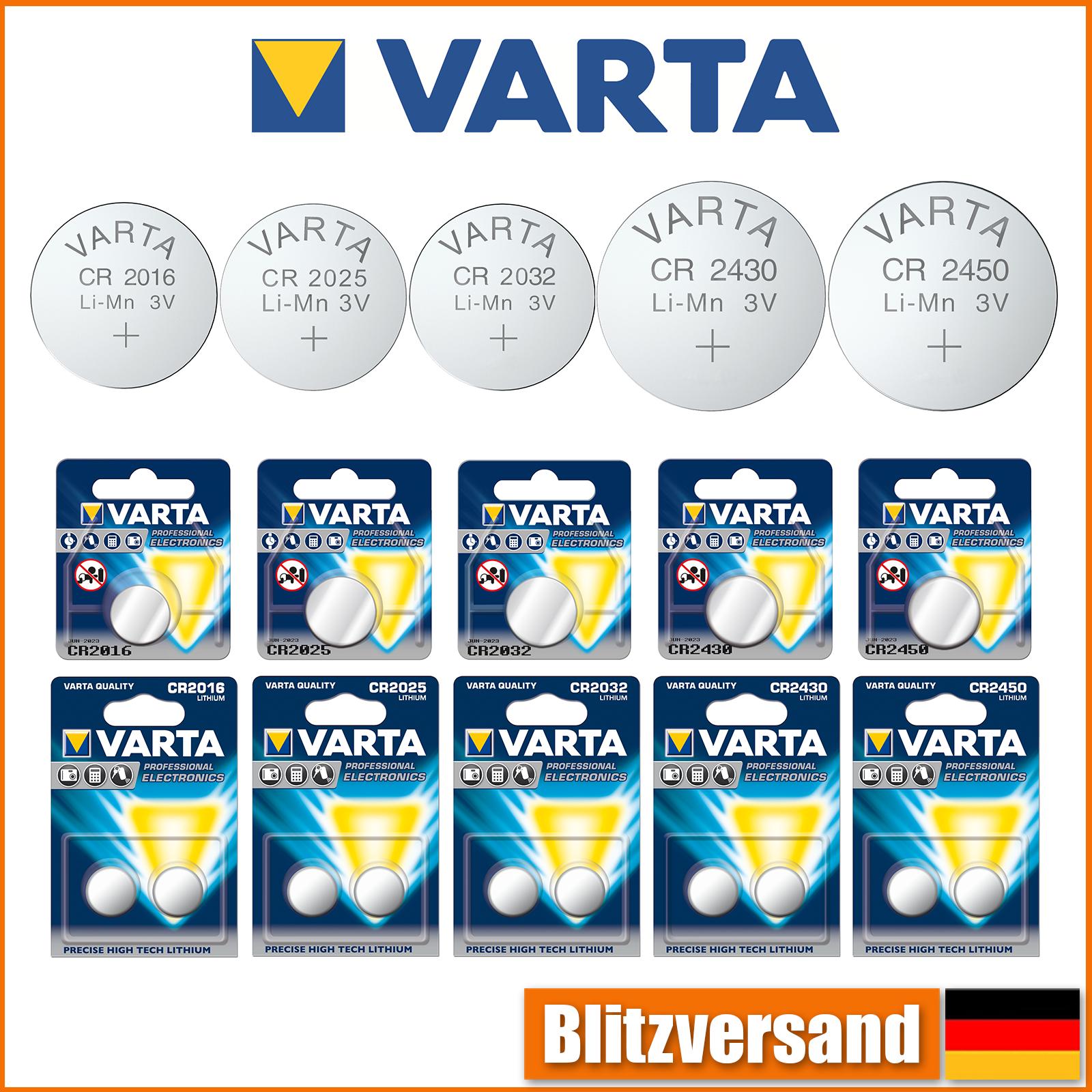 Varta Original Knopfzelle Knopfbatterie CR 2016 2025 2032 2430 2450 3V Lithium