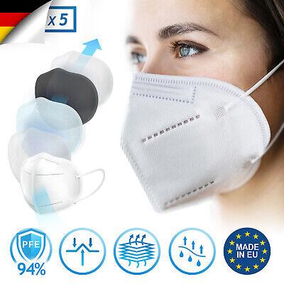 Virshields® 5 x FFP2 Schutz Maske Atemschutz Mundschutz CE Zertifiziert 5 lagig