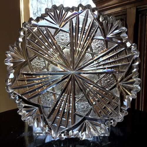 "Libbey Cut Glass Brilliant Pattern 7"" Low Bowl c.1900"
