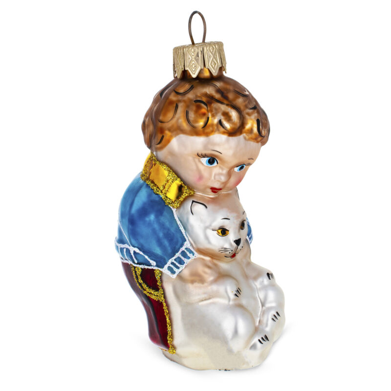 Boy Petting Cat Glass Christmas Ornament