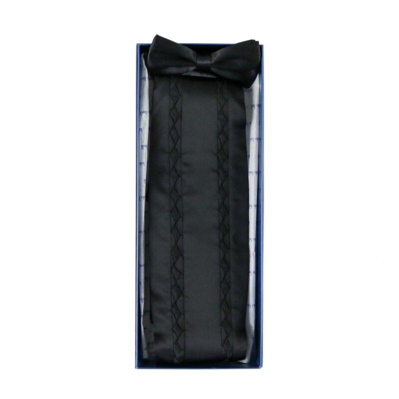 $495 NIB Solid Black Braided 100% Silk Cummerbund Bow Tie Set