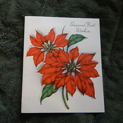 Vintage Christmas Card S. Co. 959 Made in USA Poinsettias Season's Best