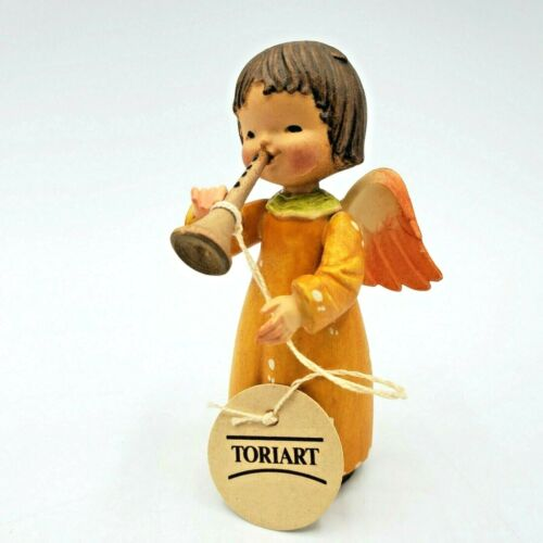Vintage Toriart Figurine Wood Angel wth Clarinet Hand Carved Painted Arni Italy