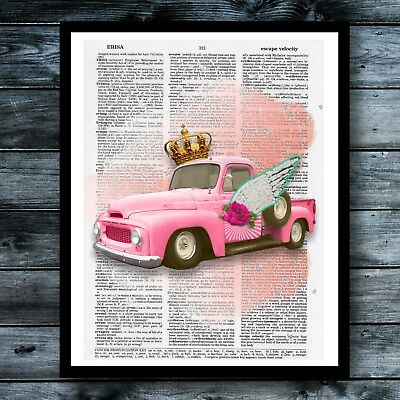 Rockabilly Vintage Dictionary Art Print Farmhouse Decor Truck Gypsy Wings Poster - Rockabilly Decorations