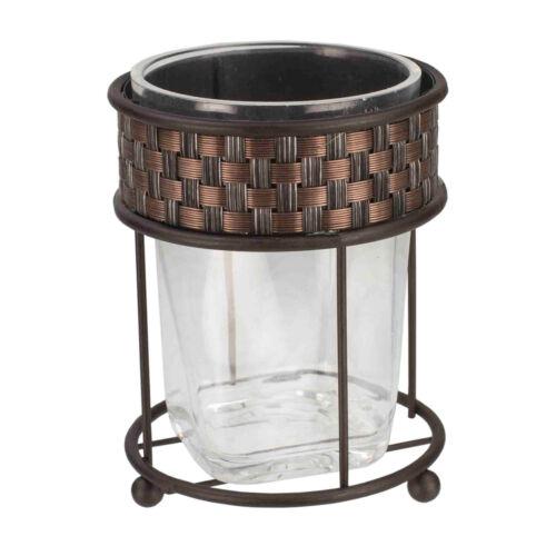 Home Basics Weave Pattern Metal & Acrylic Bathroom Tumbler Bath