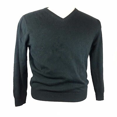 Jos A Bank Mens Cashmere Sweater Large Forest Green - Hole - Yarn, Knit, Unravel Forest Green Knitting Yarn