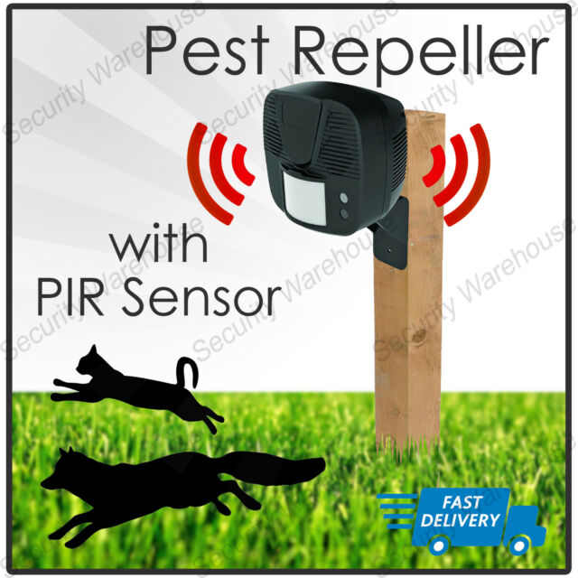 PSROUT OUTDOOR PEST REPELLER DETER ULTRASONIC 15M MAINS OPERATED TIMED-CYCLE PIR