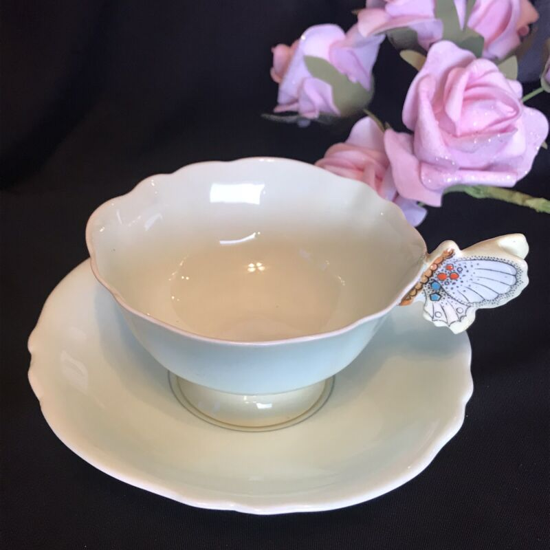 Paragon Butterfly Handle Tea Cup & Saucer Green Yellow Display Repaired